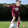Julia Moceri, 9, of Rockport, fires a shot on net during practice for her Rockport Youth Soccer team. David Le/Gloucester Daily Times