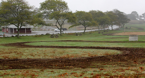 Allegra Boverman/Gloucester Daily Times. Some of the damage to the grounds of Stage Fort Park done during the weekend's Annual Gran Prix of Gloucester Cyclocross Race.