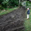 Allegra Boverman/Gloucester Daily Times. David Dow, a concerned Gloucester resident and frequent visitor to Stage Fort Park in Gloucester, <br /> is very concerned about the damage to the park done during the weekend's Annual Gran Prix of Gloucester Cyclocross Race.
