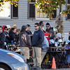"Desi Smith/Gloucester Daily Times. Crew of the HBO movie ""Clear History"" were filming scenes along Main Street in downtown Rockport early on Monday morning. This crew was also setting up sound."