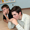 Allegra Boverman/Gloucester Daily Times. From back to front are Nate Allen and Quenton Hurst thinking hard about a quiz question's answer on Tuesday afternoon at Rockport High School.