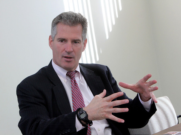 ALLEGRA BOVERMAN/Gloucester Daily Times. Republican U.S. Sen. Scott Brown visited Gloucester on Friday morning and stopped in to talk with the Gloucester Daily Times. He then walked downtown and visited with voters and businesses.