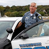 Allegra Boverman/Staff photo. Rockport Police Officer Roger Lesch on patrol on his last day of fulltime work with the Rockport Police Department.