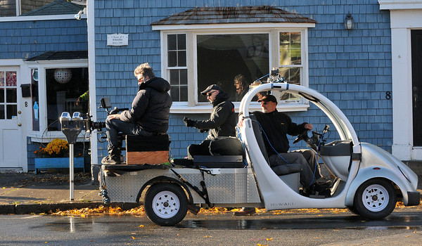 """Desi Smith/Gloucester Daily Times. Crew of the HBO movie """"Clear History"""" were filming scenes along Main Street in downtown Rockport early on Monday morning."""
