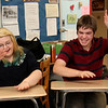 Allegra Boverman/Gloucester Daily Times. From left are Alexandra Legendre and Nelson Pike during quiz show practice on Tuesday afternoon at Rockport High School.