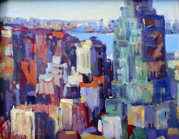 """Courtesy photo. A work by Frank Federico titled """"Cityscape."""" It is among Ruth Brown's large art collection."""
