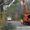 Allegra Boverman/Gloucester Daily Times. A tree that fell early on Tuesday morning on power lines that cut the power along Pond Street in Essex was cut back by a tree cutting crew and then National Grid was going to restore power to that street.