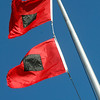 ALLEGRA BOVERMAN/Gloucester Daily Times These are the hurricane warning flags that the U.S. Coast Guard puts up on their rooftop flagpole to alert mariners that winds are 74 miles per hour or higher.