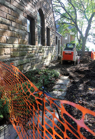 Allegra Boverman/Gloucester Daily Times. The children's entrance to the Manchester Public Library is being redone to also be handicapped accessible.