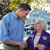 DESI SMITH/Staff photo.    Kay Murphy of Rockport, a Moulton supporter got a chance to talk with the Congressman elect Seth Moulton Saturday afternoon while visiting Harvest Fest in Rockport .  Oct 19, 2014