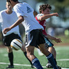 DESI SMITH/Staff photo.    Manchesters Lucas Firme controls the ball against Gloucester in a Soccer Jamboree held saturday morning at New Balance Track and Field at Newell Stadium.   August 30,2014