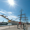 DESI SMITH/Staff photo.    The sun shines bright over the 295 ft Coast Guard Tall Ship Eagle, as visitors stop by for a public open house, as part of Schooner Festival, saturday morning at Americold, next to Cruiseport in Gloucester.  August 30,2014
