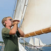 PAUL BILODEAU/Staff photo.Crew member Alex Snider on the Liberty Clipper, which is based out of Boston,  during the 30th annual Gloucester Schooner Festival.