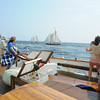 PAUL BILODEAU/Staff photo. Guest of on the Liberty Clipper, which is based out of Boston, on deck during the 30th annual Gloucester Schooner Festival.
