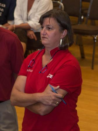 Desi Smith/Staff Photo.    Rebecca B Borden watches the board as the votes come in