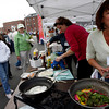 Gloucester: Laurie Lufkin, left, and Mary Hickey, right, work on their dish for the Seafood Throwdown at the Cape Ann Farmers Market on Thursday. Photo by Kate Glass/Gloucester Daily Times Thursday, September 17, 2009
