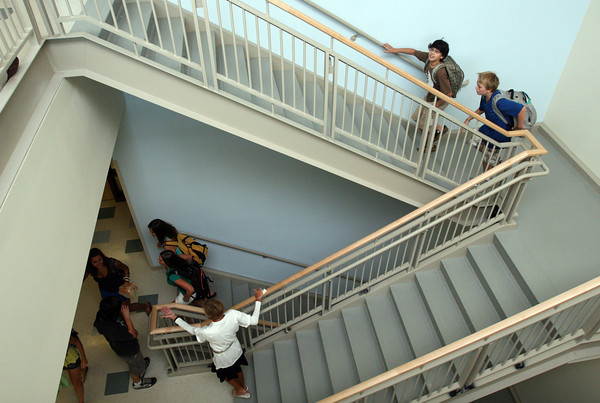 Manchester: Students find their way to their classrooms inside the new Manchester Essex High and Middle School yesterday morning during the first day of school. Photo by Kate Glass/Gloucester Daily Times Wednesday, September 2, 2009