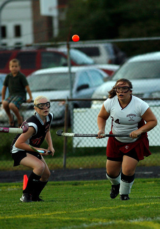 Gloucester: Gloucester's Emily Interrante and Salem's Sophie Wyke follow the ball during Gloucester's 2-1 win at Newell Stadium last night. Photo by Kate Glass/Gloucester Daily Times Monday, September 14, 2009