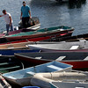 Rockport: Albert Olson, left, and Steve Amaral, right, pull up to the dock at Pigeon Cove after a day of lobstering. Photo by Kate Glass/Gloucester Daily Times Tuesday, September 15, 2009