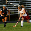 Gloucester: Salem's Rachel Channen watches as Gloucester's Katie Mituige handles the ball during the Fishermen's 2-1 win at Newell Stadium last night. Photo by Kate Glass/Gloucester Daily Times Monday, September 14, 2009