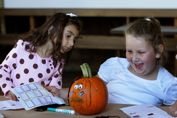 Essex: Lia Sophia Numerosa, 3, of Gloucester, checks out the pumpkin her cousin Emily Palk, 7, of Gloucester, decorated at the Cox Reservation Fall Festival Saturday afternoon. The fall festival offered many activities for kids including pony rides, hay rides, face painting, farm animals, an interactive snake show and cider press demondtrations. Mary Muckenhoupt/Gloucester Daily Times