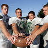 Manchester: Hornets football captains Brian Ciccone, Jack Bishop, Ben Kekeisen and Yuri Klypka-Simpson. Mary Muckenhoupt/Gloucester Daily Times