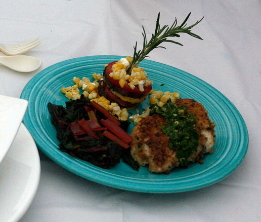 Laurie Lufkin's Panko Encrusted Haddock and grilled vegetable napoleon. Photos by Kate Glass/Gloucester Daily Times
