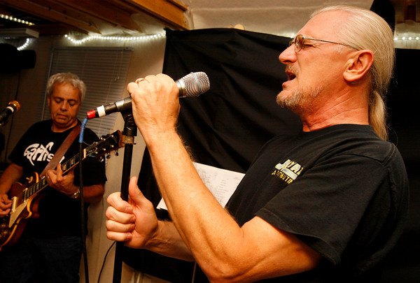 Gloucester: Doug Comeau, left, and Frank Bernardini of Garfish rehearse for their upcoming performance at the Topsfield Fair on Saturday. Photo by Kate Glass/Gloucester Daily Times Tuesday, September 29, 2009