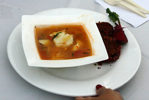 Lisa Van Sand's Mediterranean Soup with Haddock and Jessica O'Leary's Root Vegetable Cakes Photos by Kate Glass/Gloucester Daily Times