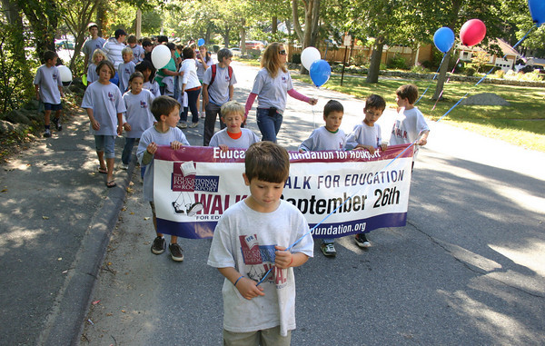 Rockport: Peter Tingle leads the Walk for Education on Saturday morning. The Walk for Education was held by Educational Foundation for Rockport, a non profit organization, supporting the Rockport's schools.<br /> Silvie Lockerova/Gloucester Daily Times