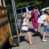 Gloucester: Jean Perry, the new principal at West Parish Elementary School, greets students as they step off the bus on the first day of school yesterday. Photo by Kate Glass/Gloucester Daily Times Tuesday, September 1, 2009