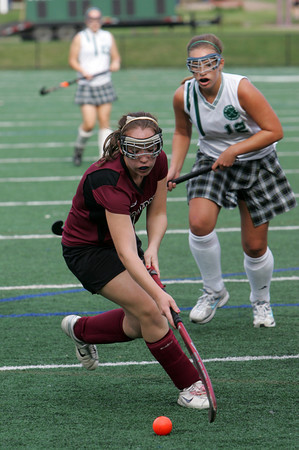 Manchester: Rockport's Haley Lorden takes possession of the ball during the field hockey game against Manchester Essex at Coach Ed Field Field Wednesday afternoon. Also Pictured is Manchester Essex's Hannah Daley, back right. Mary Muckenhoupt/Gloucester Daily Times