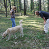 Gloucester: Megara and Timothy Wood of Gloucester walk with their dog, Jackson, to examine the spot in woods near Bray Street where they found their other dog, Otis, who was killed by a blunt force trauma to the ribs. Photo by Kate Glass/Gloucester Daily Times Monday, September 28, 2009