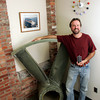 Gloucester: Christopher Williams Chief Technology Officer and founder of Free Flow Power stands with a test section from a three meter turbine in his office on Commercial Street in Gloucester.  Free Flow Power got a $750,000 grant for the next step in their alernative energy project in the Mississippi River. Mary Muckenhoupt/Gloucester Daily Times