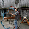 "Jay Havighurst plays ""Blue Arc,"" one of five of his sound sculptures that will be at the 5th Gloucester New Arts Festival at Stage Fort Park on Saturday. Photo by Kate Glass/Gloucester Daily Times Tuesday, September 22, 2009"