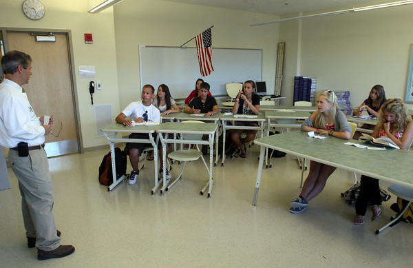 Manchester: Assistant Principal Paul Murphy answers questions about the new Manchester Essex High and Middle School during class yesterday, which was the first day of school. Photo by Kate Glass/Gloucester Daily Times Wednesday, September 2, 2009