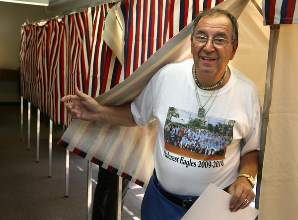 Gloucester: Sam Calomo of Gloucester emerges from the voting booth at the Veterans' Center after completing his ballot for Tuesday's primary. Photo by Kate Glass/Gloucester Daily Times
