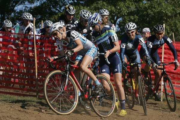 Gloucester: The elite woman's racers get jammed up at one of the turns on the race course during the 12th annual Gran Prix of Gloucester cyclocross at Stage Fort Park Saturday afternoon. Hundreds od cyclists came to the two day bike racing event that turned Stage Fort Park into a zig-zag race course. Mary Muckenhoupt/Gloucester Daily Times