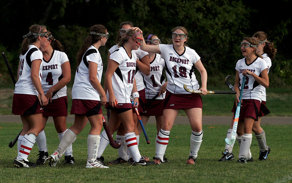 Rockport: Rockport's Allie McManus is congratulated by her teammates after scoring on a penalty stroke during their game against Ipswich yesterday afternoon. Photo by Kate Glass/Gloucester Daily Times