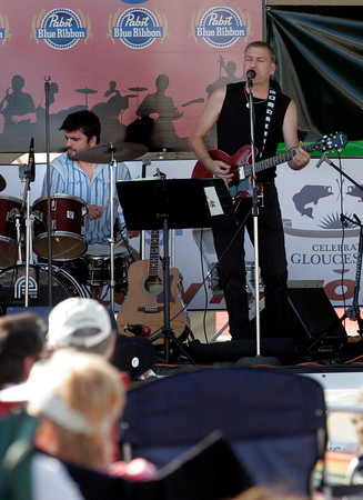 Gloucester: Inge Berge and drummer Leo Sharamitaro perform at Celebrate Gloucester yesterday. Photo by Kate Glass/Gloucester Daily Times