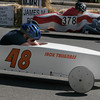 Gloucester: Jack Tallgrass edges ahead of Trey Rochford as they make their way down the track during the Fish Box Derby on Rogers Street yesterday. Photo by Kate Glass/Gloucester Daily Times