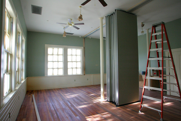 Rockport: As the completeion of the Community House renovations is about a month away town officials are working to determine how the building will be managed and how much money to charge groups to rent space.  Here is one of the renovated rooms in the back of the building on the second floor. Mary Muckenhoupt/Gloucester Daily Times