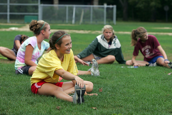 Manchester: Bailey Graves, one of the captains of the Manchester Essex Middle School field hockey team helps lead her team in stretches during warm-ups before practice at Masconomo Park Thursday afternoon.  The next hoem game for the girls will be Wednesday at 3:45 at Coach Ed Field Field. Mary Muckenhoupt/Gloucester Daily Times
