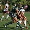 Rockport: Manchester Essex's Kyle Marsh tries to keep the ball away from Rockport's Kaylee Stanton during the field hockey game at Rockport High School Wednesday afternoon. Manchester Essex defeated Rockport 1-0. Mary Muckenhoupt/Gloucester Daily Times
