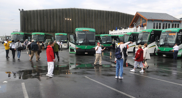 Gloucester:  Passengers of the cruise ship Eurodam, head to a fleet of Peter Pan buses which will take them to several locations in and out of the city, wednesday morning at Cruise Port. Desi Smith/Gloucester Daily Times. September 8,2010