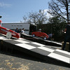 Gloucester: Nick Blake, left, and Ryan Davidson line up at the start during the Fish Box Derby on Rogers Street yesterday. Photo by Kate Glass/Gloucester Daily Times