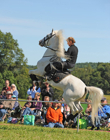 Essex: Gabrriella Herrmann owner of Herrmann's Royal Lipizzan performs air above the ground maneuvers, for a crowd of spectators Saturday afternoon at Cogswell's Grant.   Desi Smith/Gloucester Daily Times. September 17, 2011