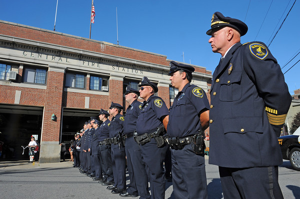 Gloucester: Chief of Police Michael Lane along with Police and Fire, take part in remembering the 10th year of 911 in a ceremony held at Central Fire Station Sunday morning.   Desi Smith/Gloucester Daily Times. September 11, 2011