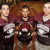 Gloucester High School senior football captains Chris Burke, Kyle Lucido, and Matt Taormina gear up for the 2011 football season. David Le/Gloucester Daily Times