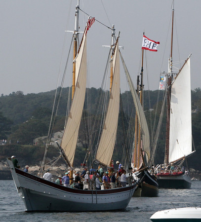 The Schooner Ardelle joins the long parade of schooners as they glide by the Boulevard on Sunday morning. David Le/Gloucester Daily Times